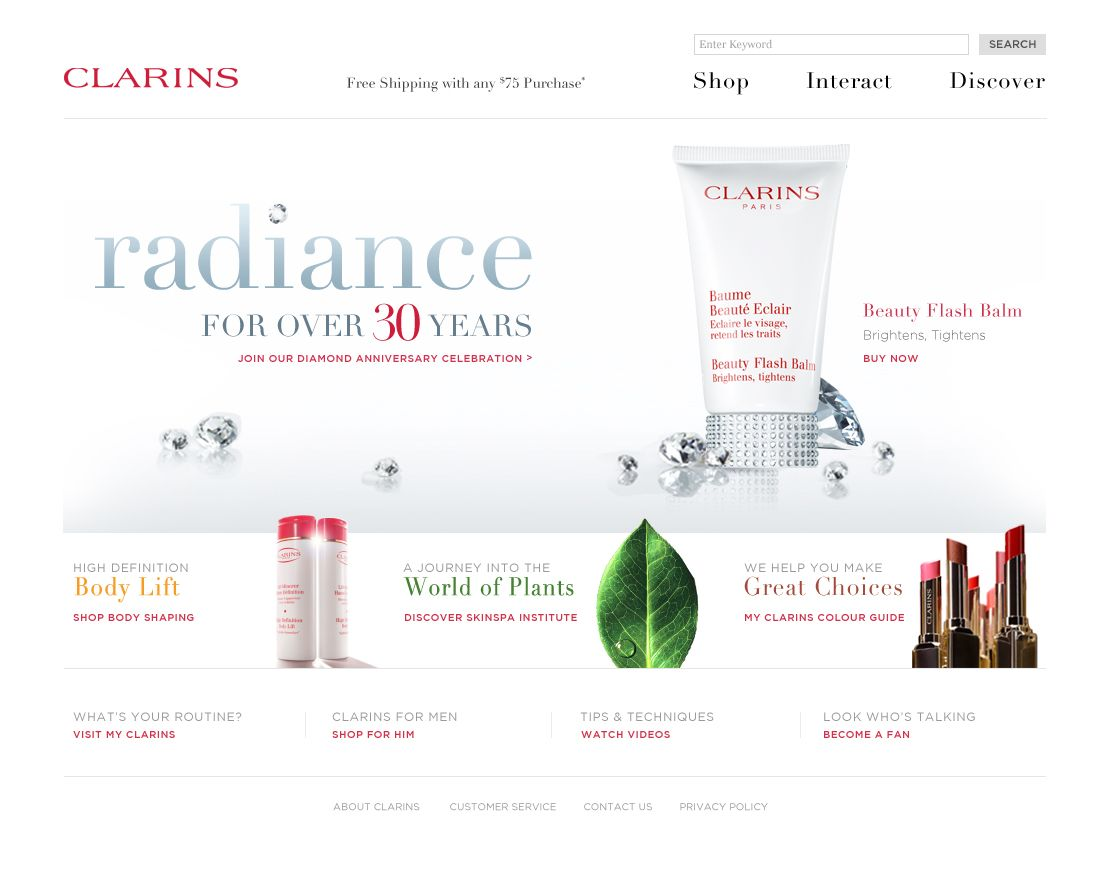 Clarins Cosmetic International ‹ Von Klueger Creative Studio