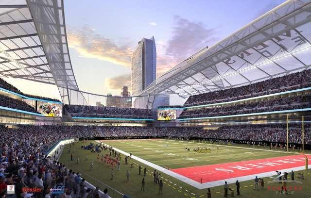 Aeg S Downtown La Nfl Stadium Proposal Adds Greener Measures With Images Nfl Stadiums Stadium Los Angeles