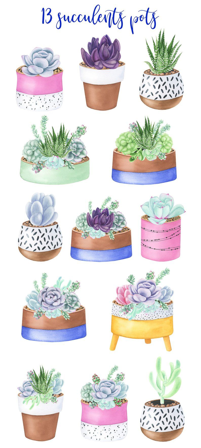 Succulent Pots, Watercolor Clipart, Flower Pots, Digital
