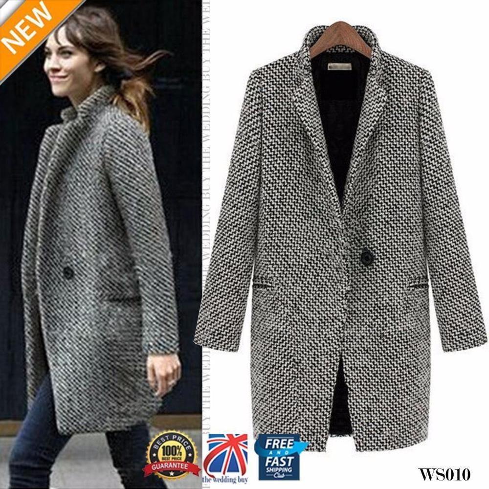 Para Mujer Solapa lana cashmere Abrigo Trench Chaqueta Larga Parka Abrigo  Outwear Ws010