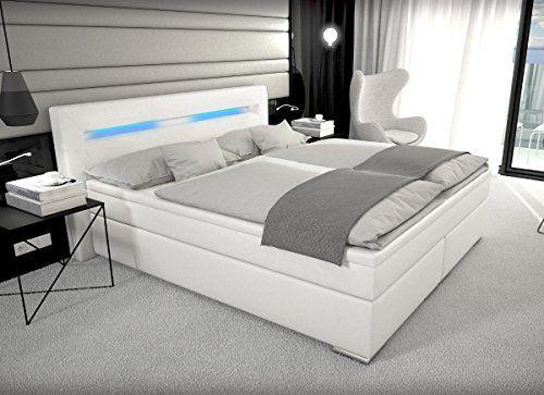 Designer boxspringbett leder  Designer Boxspring Bett Paris mit Bettkasten + LED Beleuchtung ...