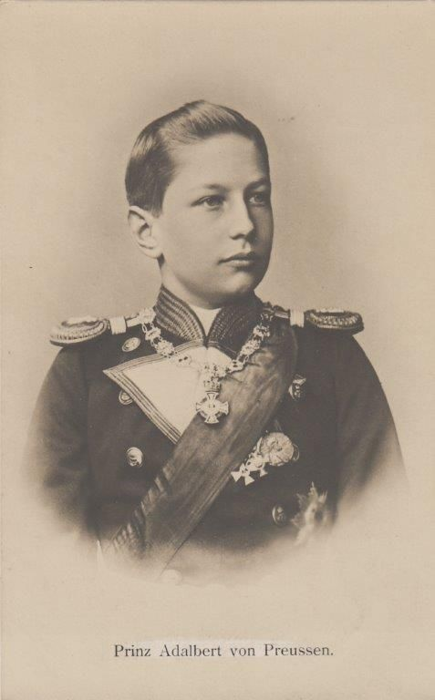 Prince Adalbert of Prussia as young officer of Imperial Navy - RARE 1900 pcd