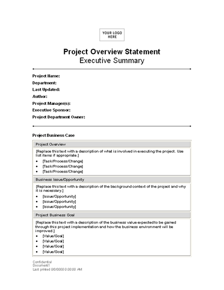 Project Overview Template 225 Statement Template Statement Templates