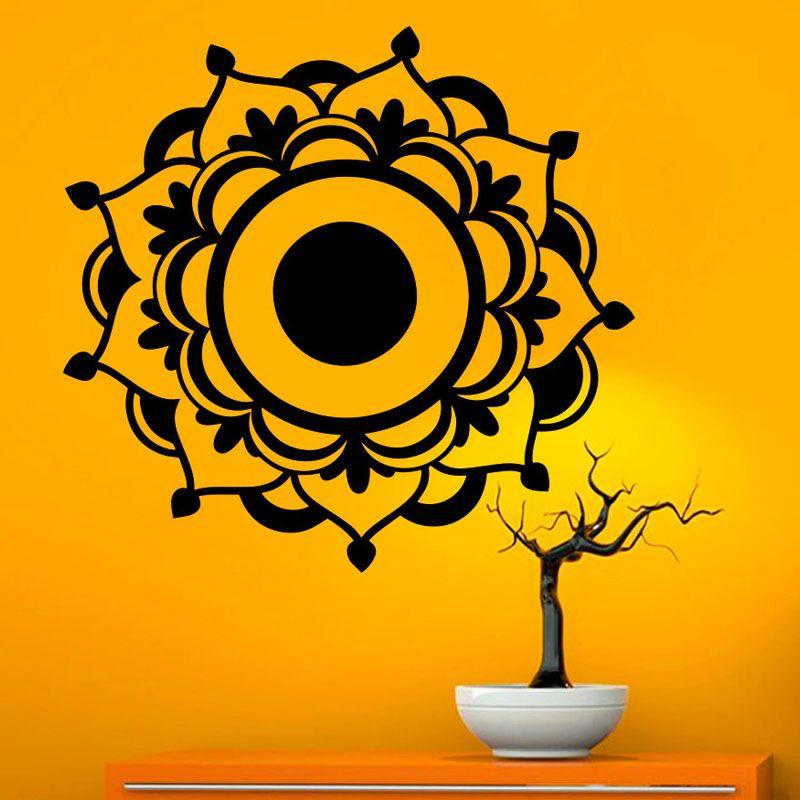 DCTOP Mandala Flower Circle Black Vinyl Wall Stickers Living Room ...
