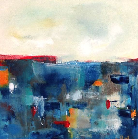 Blue Seascape Cityscape Abstract Original Painting by lindadonohue