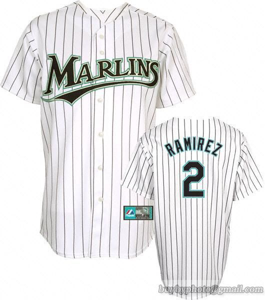 Marlins  2 Hanley Ramirez White Embroidered MLB Jersey  9b6c64990