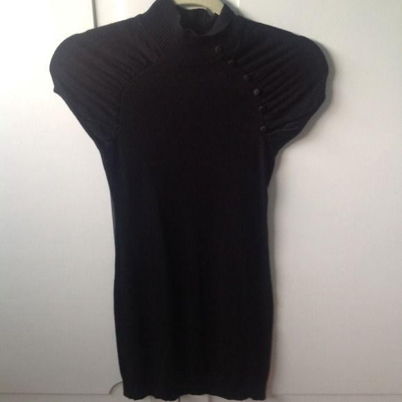 Black Mini Dress with Mandarin Collar Detail Planet Gold knit mini dress. Size Small. Color black. Like new. Only worn twice. PlanetGold Dresses Mini