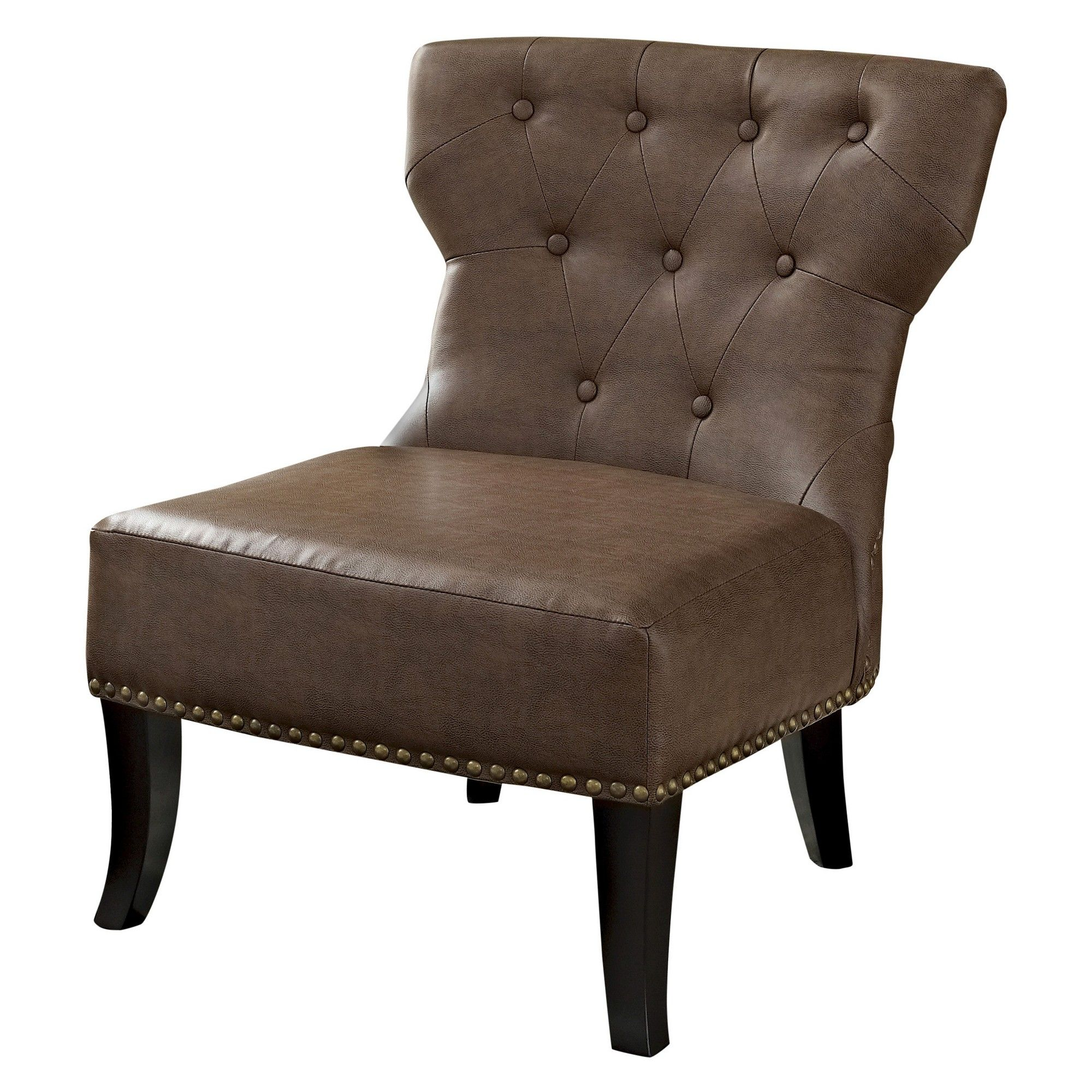 Best Simpli Home Kitchener Accent Chair Rustic Brown Bonded 400 x 300