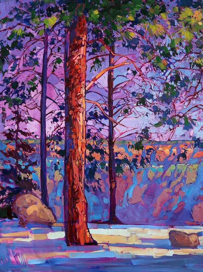 The North Rim Hexaptych - Panel 1 Painting by Erin Hanson