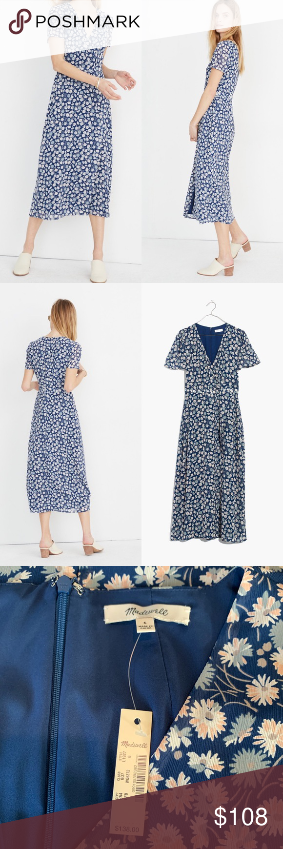 46ad3476138 Madewell Wrap-Front Midi Dress in French Floral NWT Size 6 Madewell Dresses  Midi