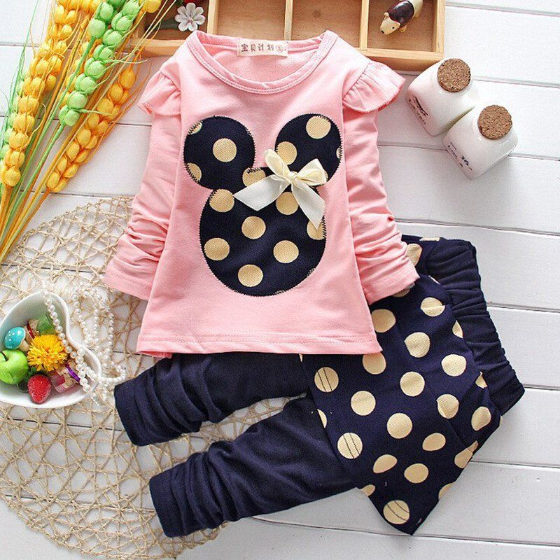 9295f8fdc59fd 2016 Girls clothes Baby Girl Clothing Set Children Flower Bow Cute Suit Kids  Twinset Top T Shirt +Plaid Pants Leggings