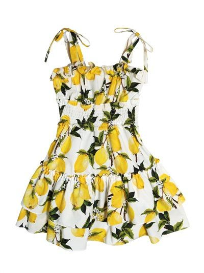 LEMONS RUFFLED COTTON POPLIN DRESS