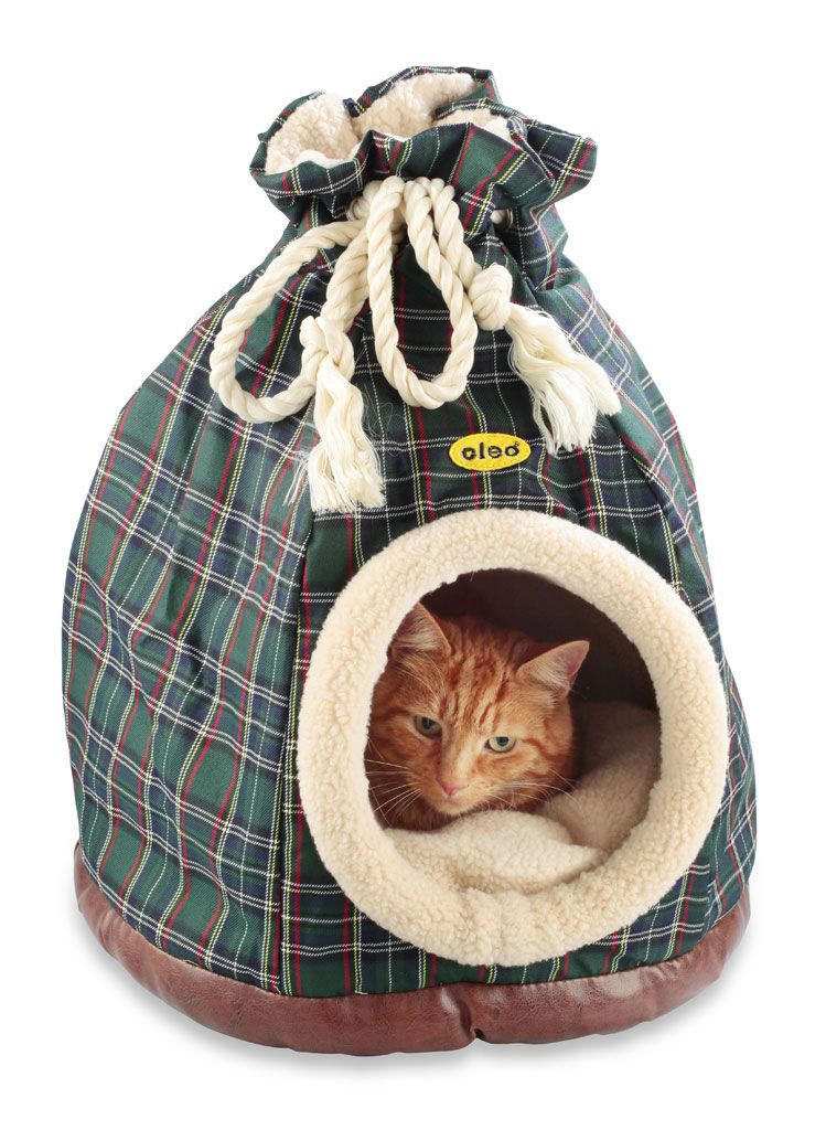 Blue Tartan Duffle Bed for cats and small dogs Igloo dog