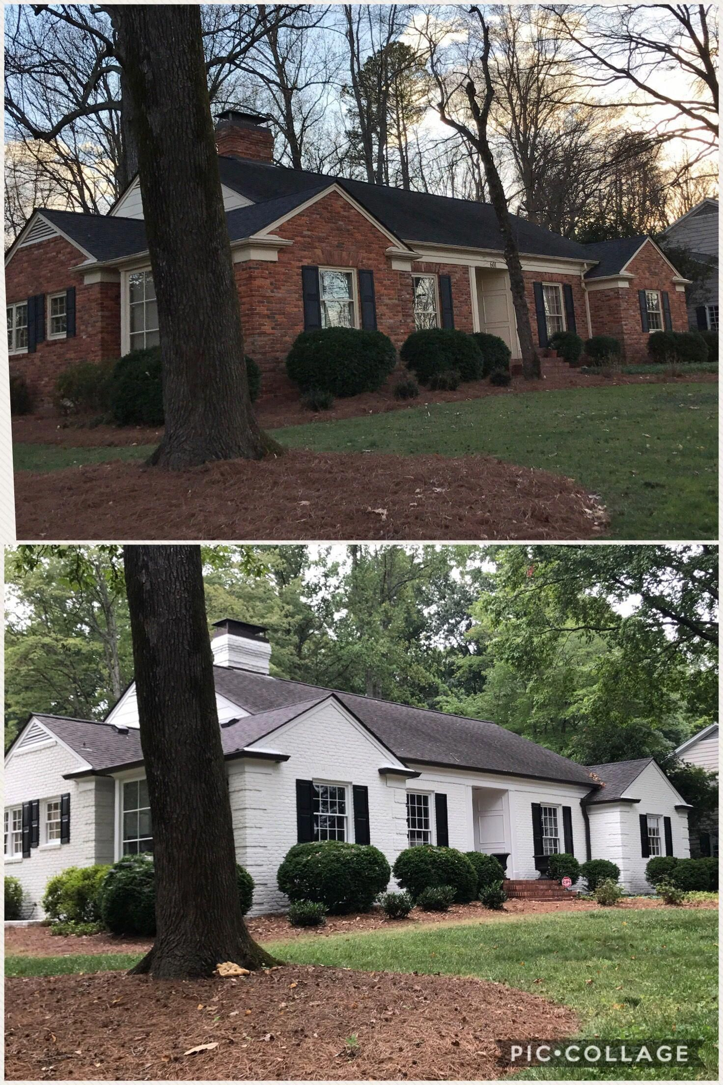 Before After Sw Alabaster Homeremodelingbeforeandafter Painted Brick House Ranch House Exterior Brick Exterior House