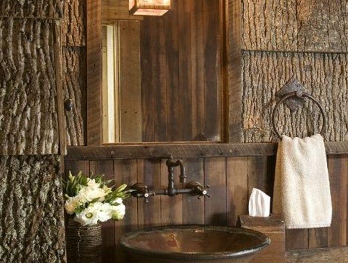 idee deco salle de bain vasque vintage en mtal lanterne suspendue revtement mural