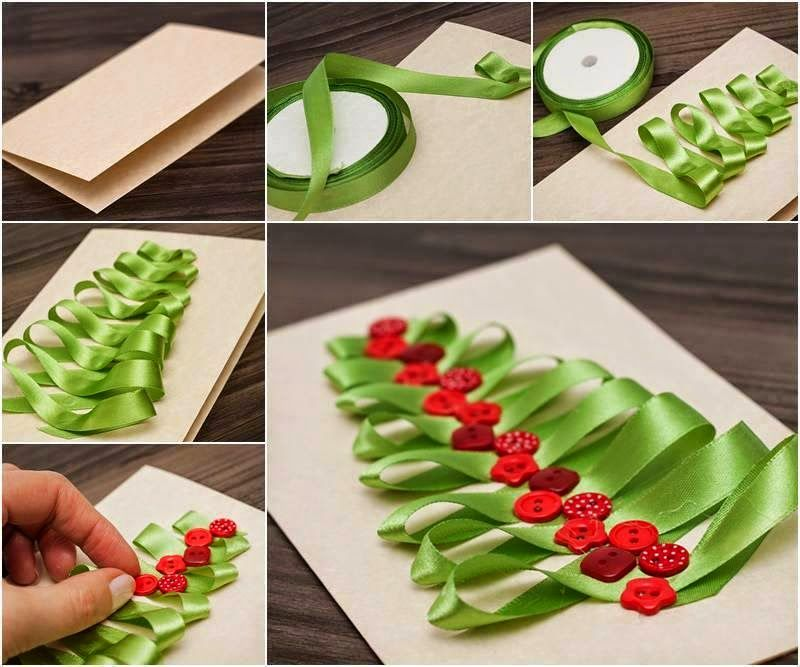 Diy creative christmas card with ribbon and buttons christmas how to make a ribbon christmas tree card ribbon diy christmas diy crafts do it yourself diy projects christmas card christmas tree card solutioingenieria Images
