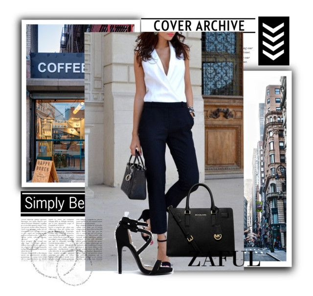 """""""http://www.zaful.com/pocket-design-white-black-spliced-jumpsuit-p_87027.html?lkid=2989"""" by goldenhour ❤ liked on Polyvore featuring Coffee Shop, Qupid and MICHAEL Michael Kors"""