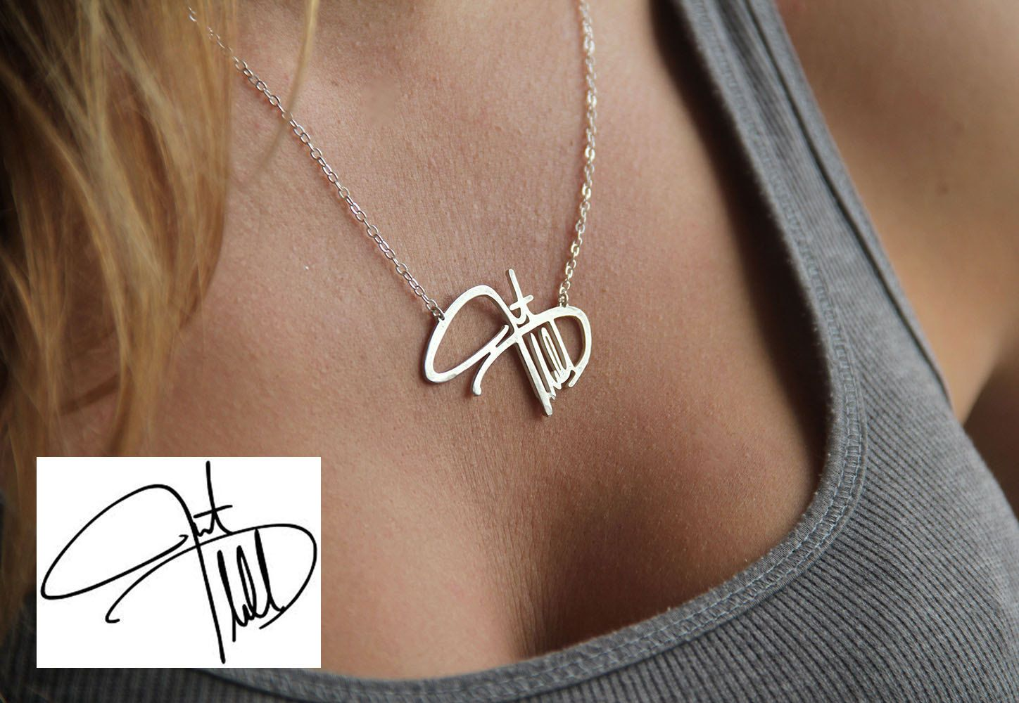 pin name necklaces silver necklace handwritten pendant memorial personal signature