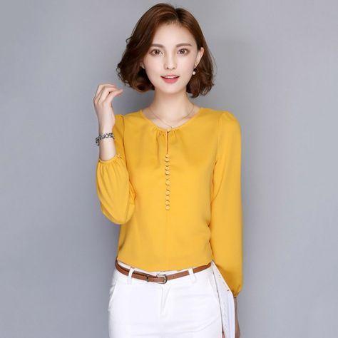 65ae8f97cb7 Plus Size Women Korean Casual Loose Blouses Long Sleeve Autumn Chiffon  Blouse Shirt Elegant Ladies Tops