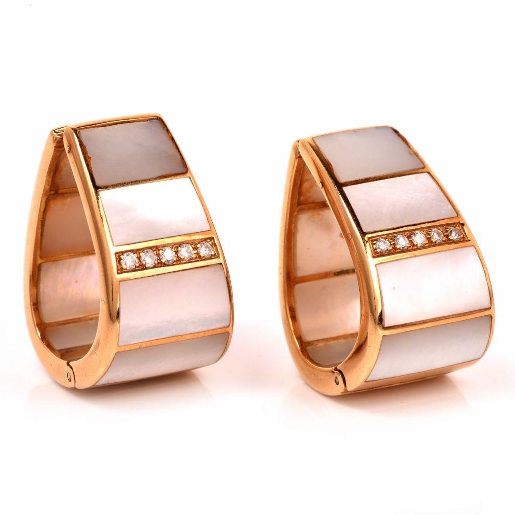 Estate Mother of Pearl Diamond 18K Gold Clip-on Earrings Item # 116505