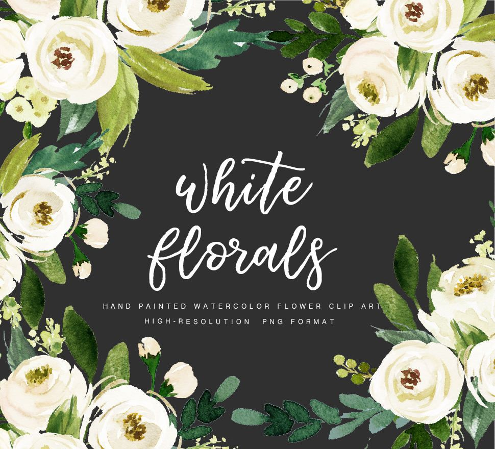 Watercolor Floral Clip Art-White Flower/Small Set