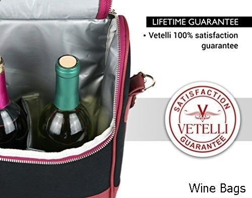 Wine Bag Vetelli Wine Carrier Wine Tote Bag Luxury Leather Wine Champagne Case Insulated Cooler Chiller Leather Wine Carrier Wine Bag Wine Tote Bag