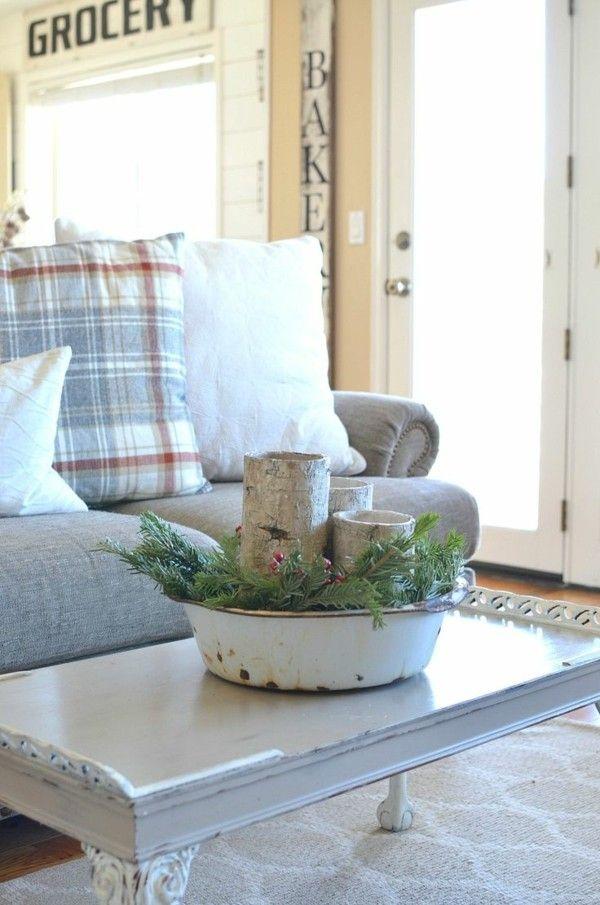 Weihnachtsdeko Im Landhausstil weihnachtsdeko landhausstil wohnzimmer dekoideen couchtisch kerzen