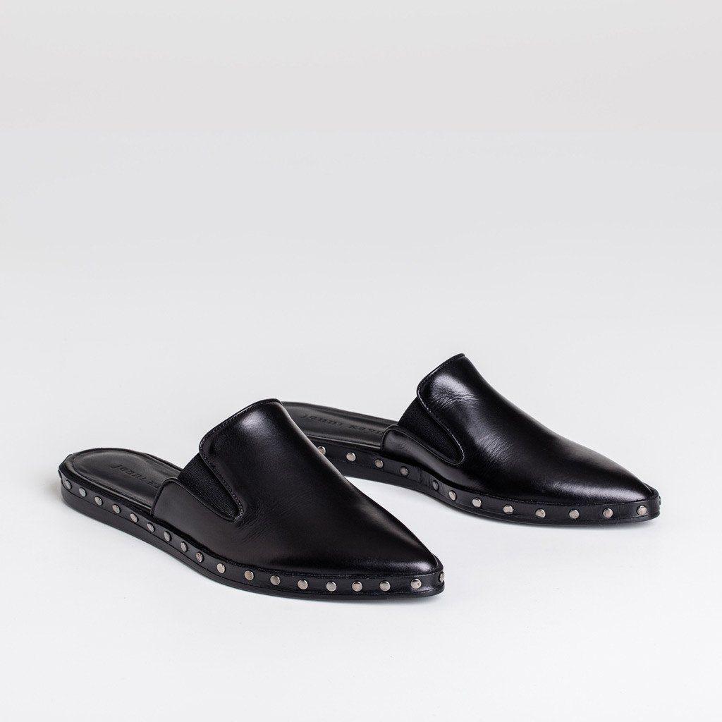 Studded Mule Slide - Black Leather