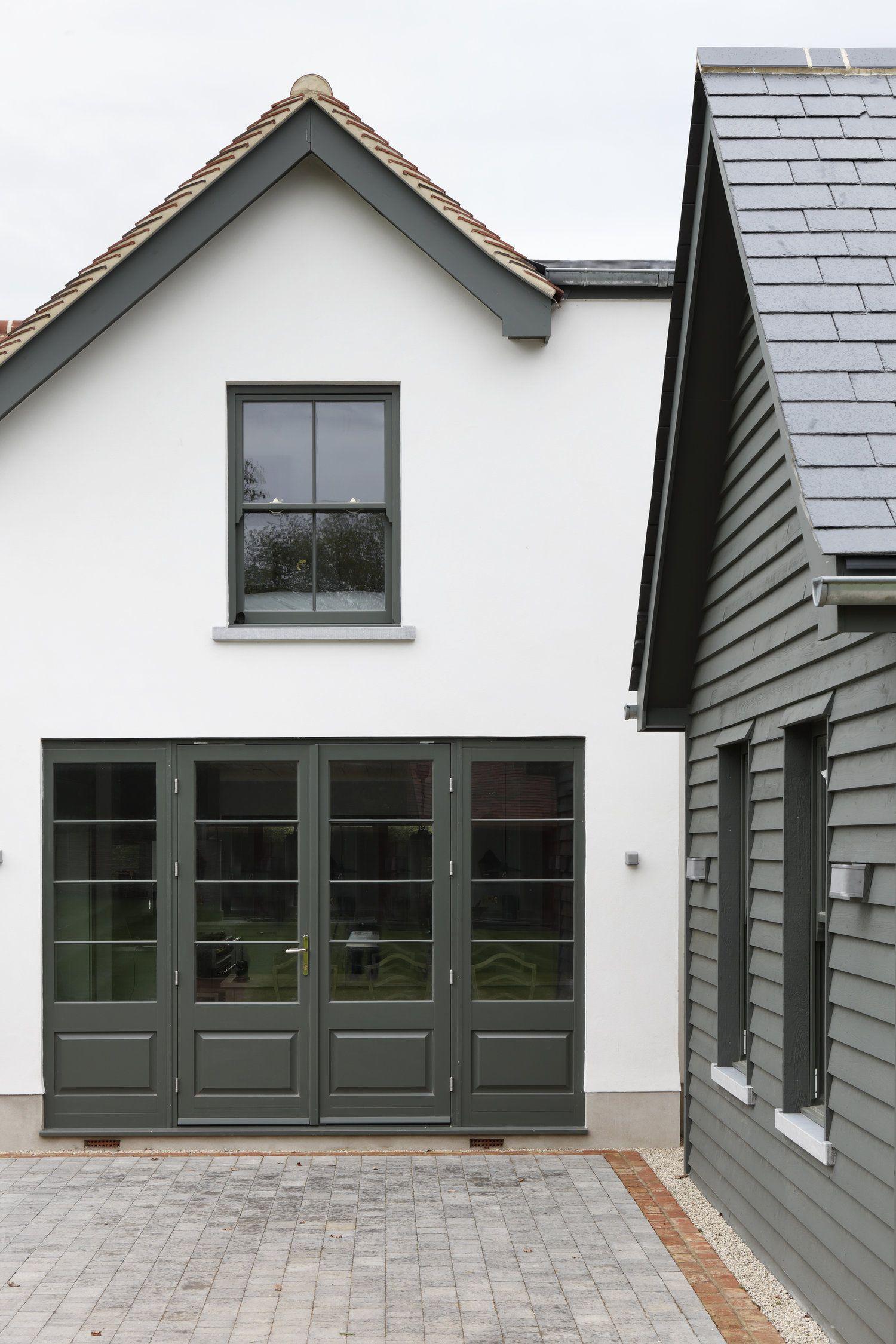 White home exterior dark green trim brick border on - White house green trim ...