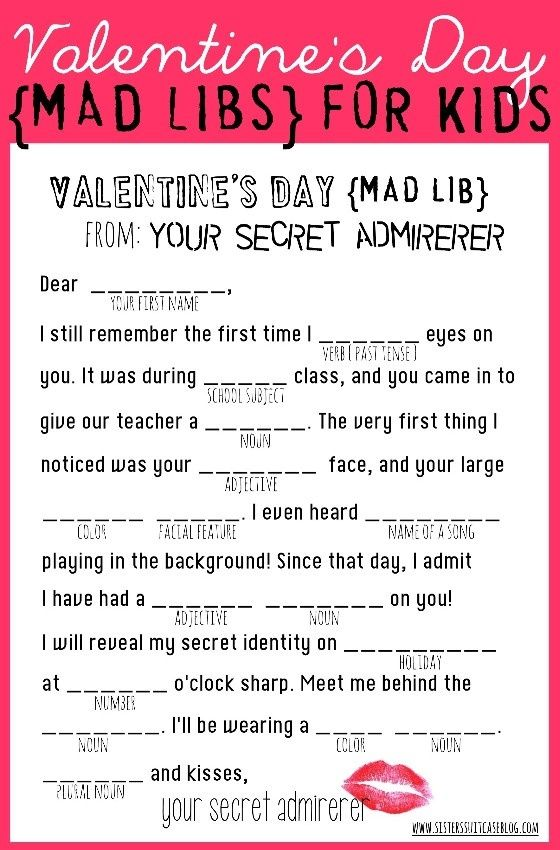 valentines day mad libs for kids free printable from wwwsisterssuitcaseblogcom - Free Valentine Games