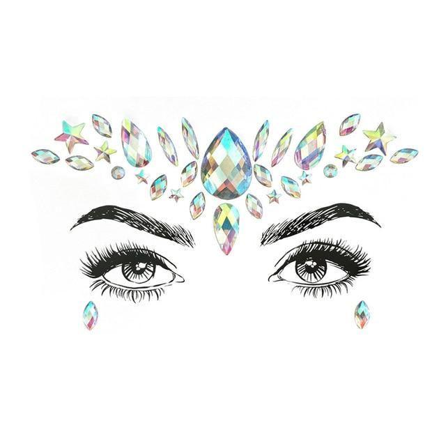 Strass Juwelen selbstklebende Kristall Augenbrauen Make Up Gesicht Aufkleber – 10 / Multi