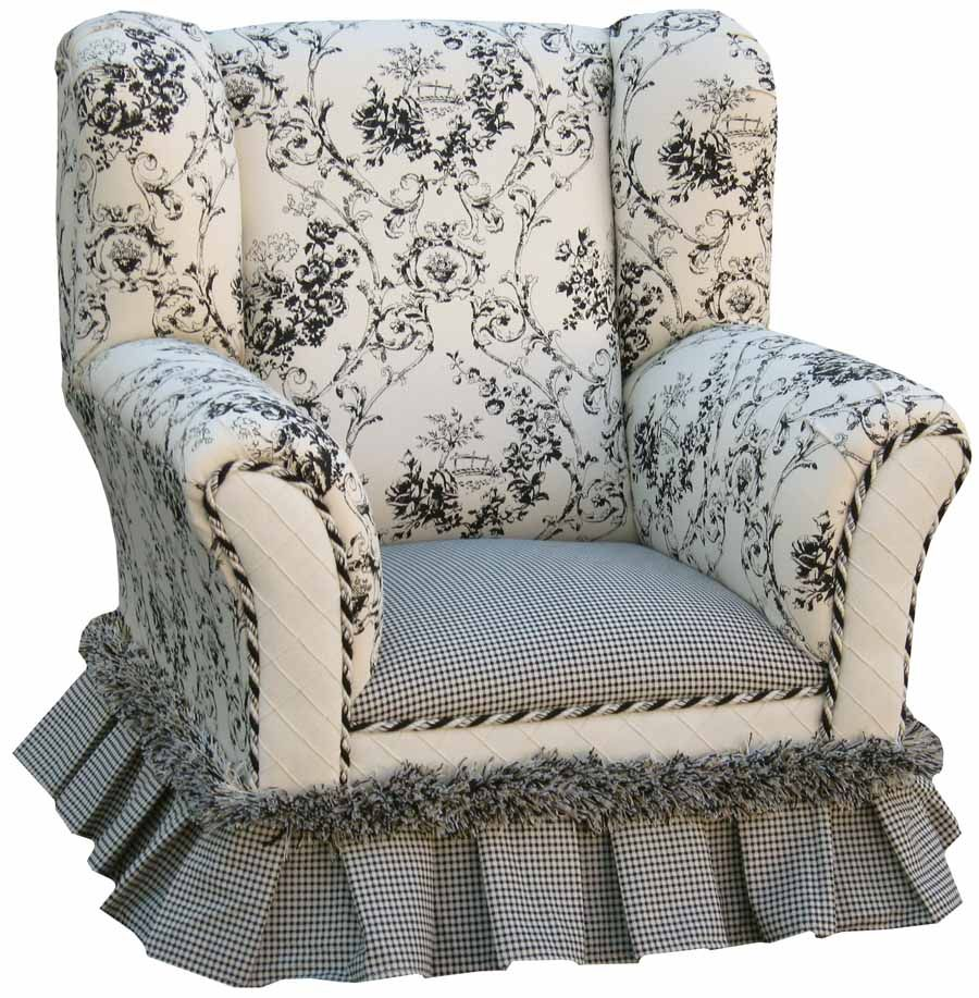 floral toile and check wingback chair with skirt