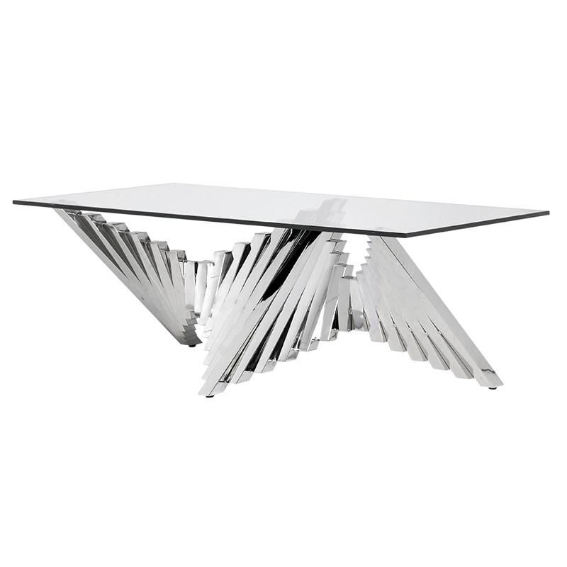 Adagio Coffee Table Stainless Steel Coffee Table Glass Top
