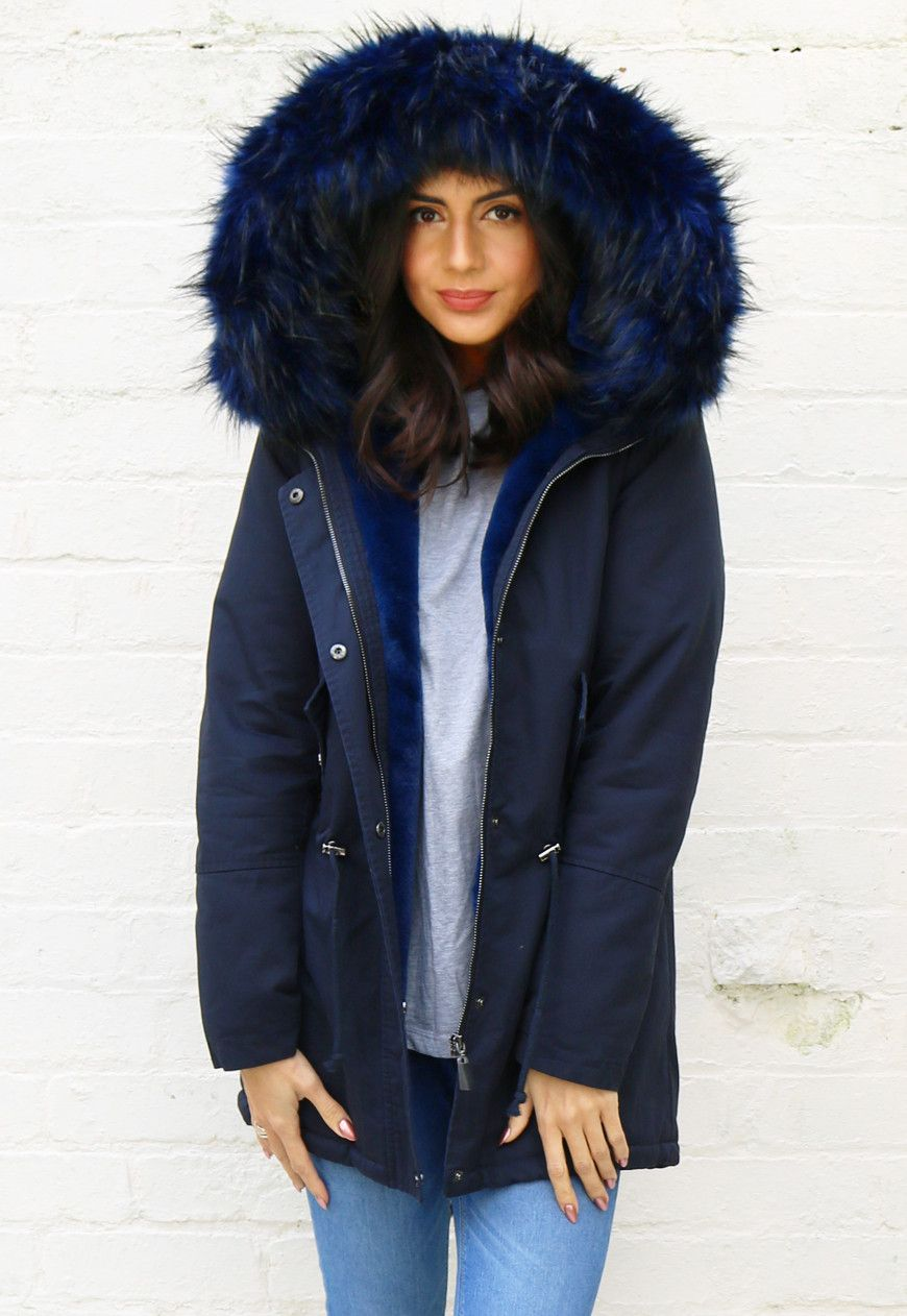 Ferne Oversized Faux Fur Trim & Lined Parka with Hood in Navy ...