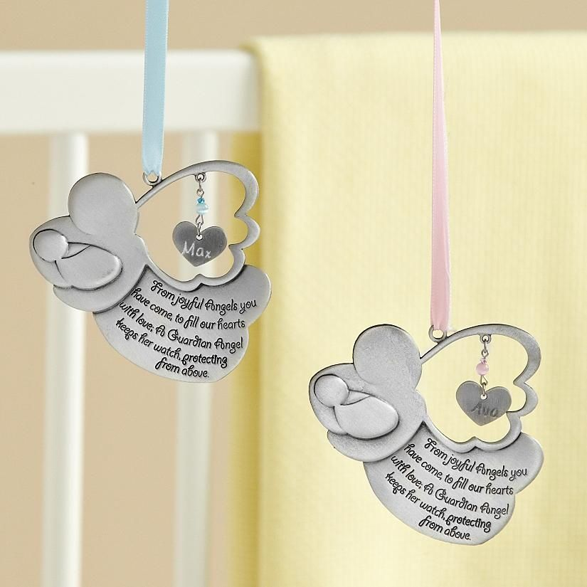 Guardian angel crib medal personalized baby keepsake