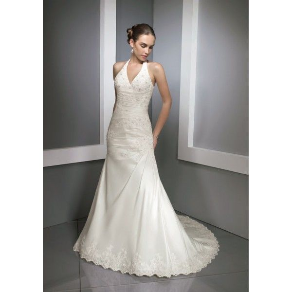 Taffeta Sexy V Neck Halter With A Line Beaded Lace Dress Hem And Chapel Train Wedding Gown WL 0023