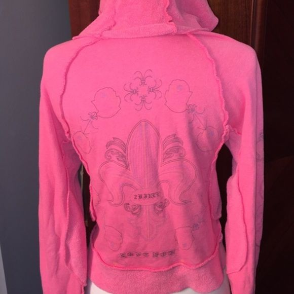"""2B Free Hoodie 2b Free Watermelon colored graphic hoodie jacket. Graphic design on backside, both arms, and left side of chest. Distressed """"inside out"""" style.  Super cozy.  Made to look as an old worn out jacket but only worn a few times and in very good condition. bebe Jackets & Coats"""