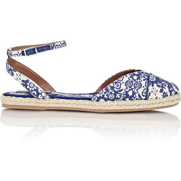 Tabitha Simmons Sebille Ankle-Strap Espadrilles ($395) ❤ liked on Polyvore featuring shoes, sandals, blue, blue espadrilles, woven sandals, blue shoes, ankle strap sandals and espadrilles shoes