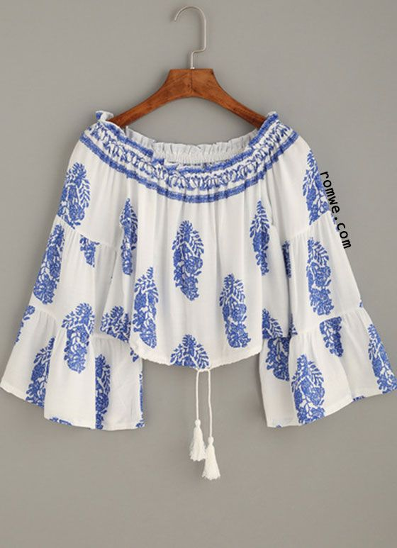 White Random Print Off The Shoulder Tiered Sleeve Top