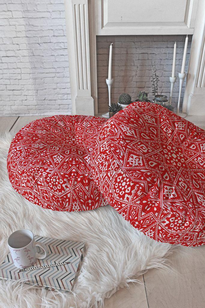 Aimee St Hill Amirah Red Floor Pillow Round | Red floor, Floor ...