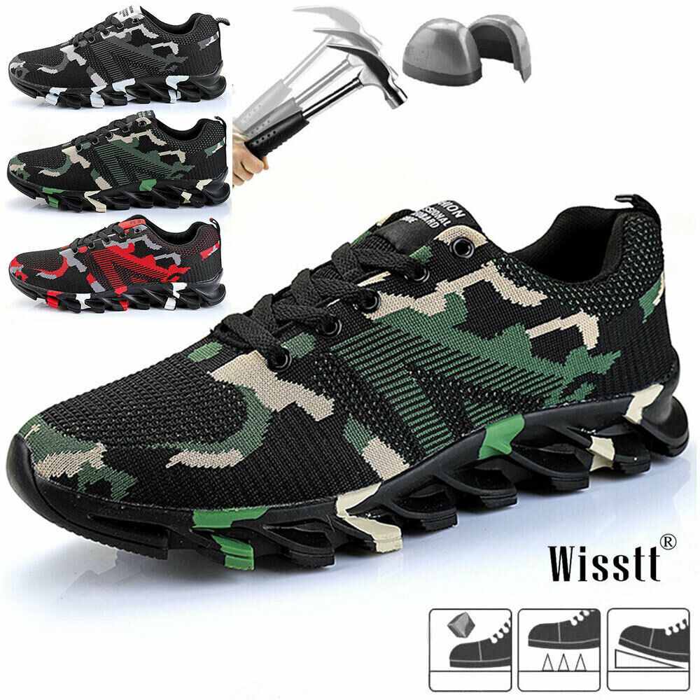 Mens Safety Shoes Steel Toe Work Boots Indestructible Hiking Camouflage~Sneakers