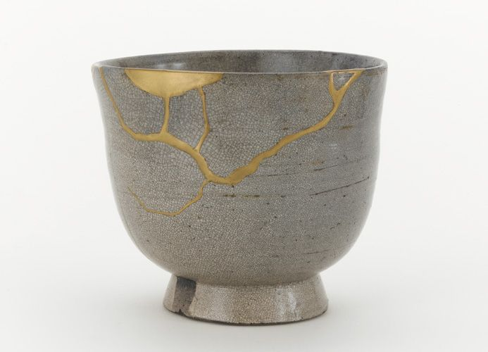 Kintsugi or Kintsukuroi is a Japanese technique of repairing broken pottery with lacquer or resin mixed with powdered gold. They believe that when something's suffered damage and has a history it becomes more beautiful.