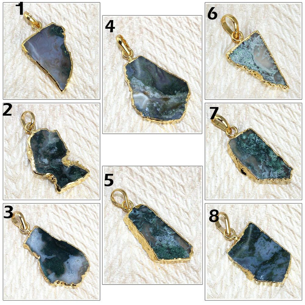 DIY Agate Pendants Slice Druzy Geode Beads Gemstone Jewelry Gold Plated Necklace