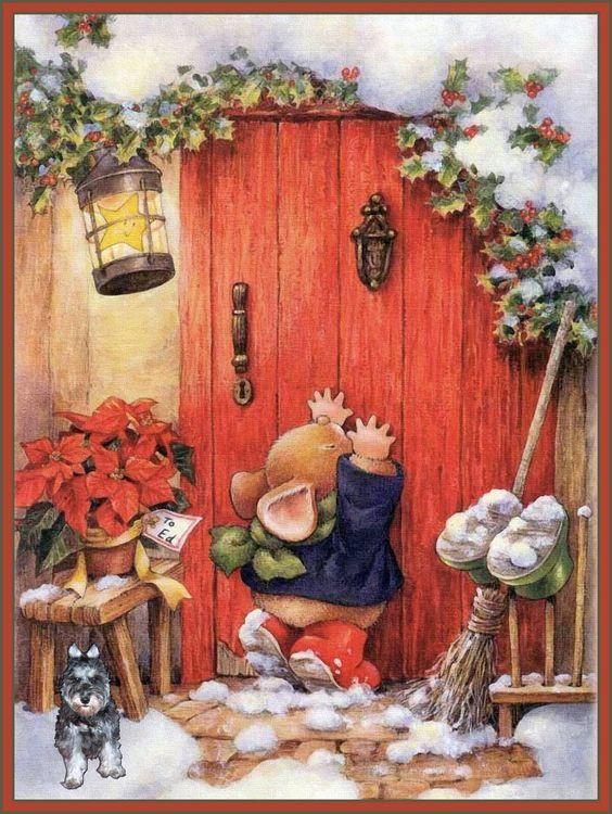 Weihnachtsbilder Gemalt.Alenquerensis Country Companions Christmas Postcards Hasen