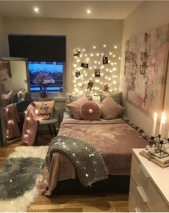 Led Lights With Chunky Blanket Girl Bedroom Decor Bedroom Decor