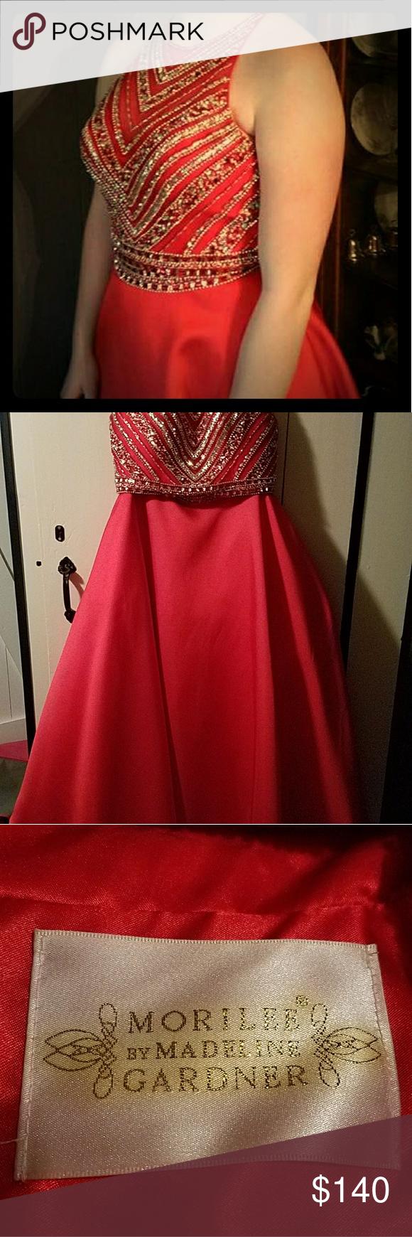 Red piece beaded prom dress my posh closet pinterest beaded