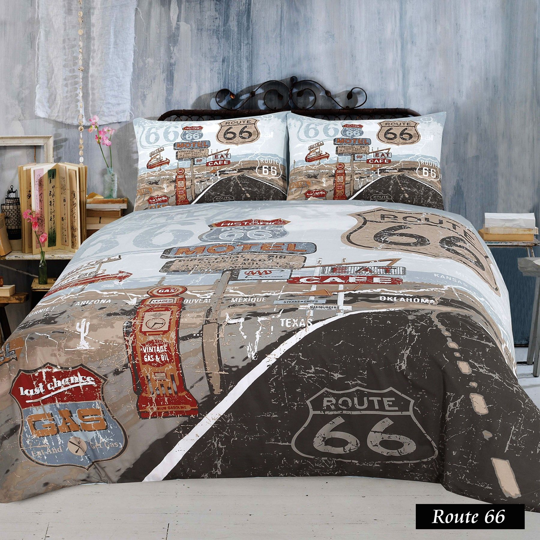 route 66 quilt cover set by retro home