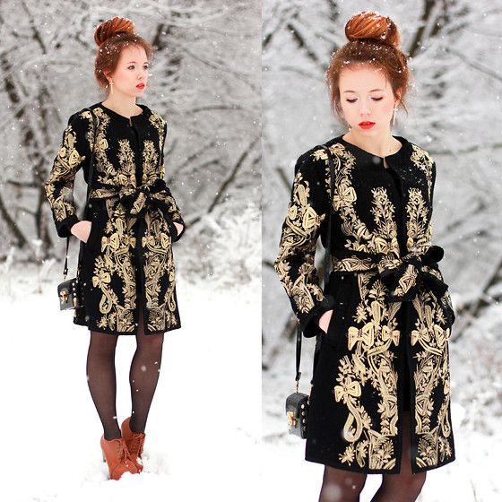 Baroque Pattern Coat With Bow Waist (by Wioletta Mary Kate) http://lookbook.nu/look/4434447-Baroque-Pattern-Coat-With-Bow-Waist