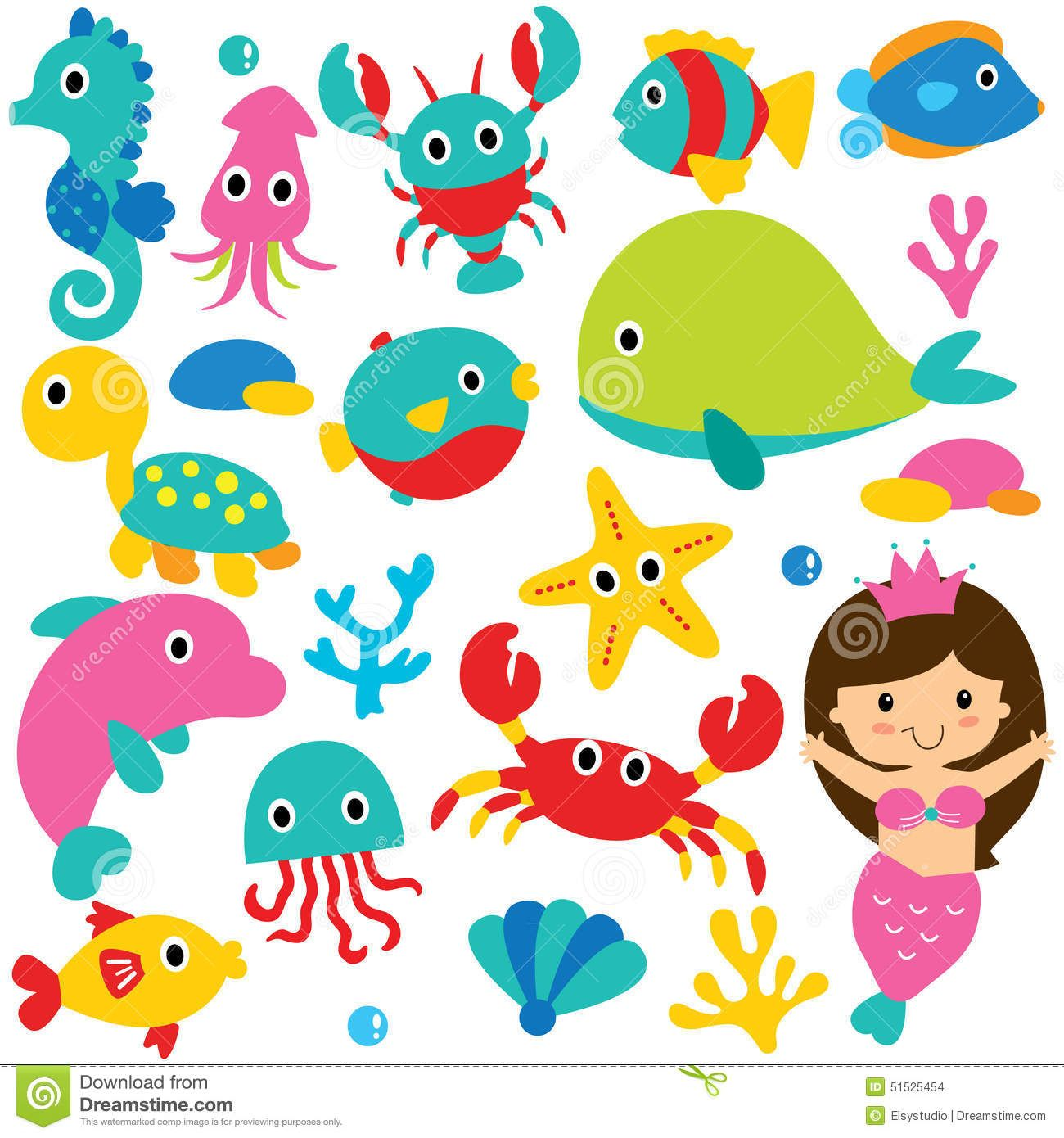 Cute Ocean Clip Art Vector file. It can be scaled to any