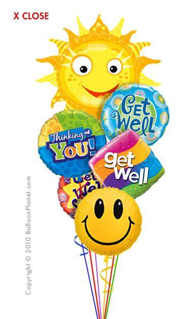 Get Well Smiles Balloon Bouquet 6 Balloons Get Well Balloons Balloon Bouquet Get Well
